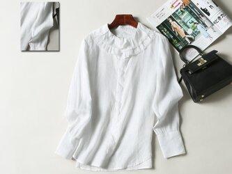 (再販)春夏の着こなしに大活躍のリネン100%シャツ ホワイトの画像