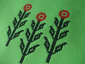 クロスステッチ花刺繍のブックカバー◆セミオーダー◆ アップルグリーンの画像