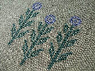 クロスステッチ花刺繍のブックカバー◆セミオーダー◆ 茶の画像