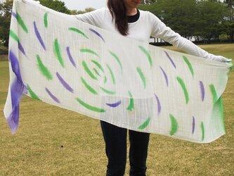 国産シルク100%手描き染めストール -Pu&Gr-の画像