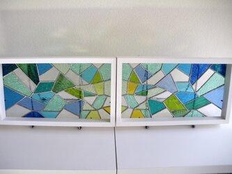 幾何学模様ステンドグラスパネルセット(グリーン×ブルー)の画像