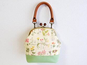 2way木玉がまぐちバッグ - Cottage chic floral - ライトグリーン - 本革持ち手〔382〕の画像