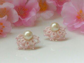 【送料無料】Butterfly wingピアス #桜色ピンクの画像