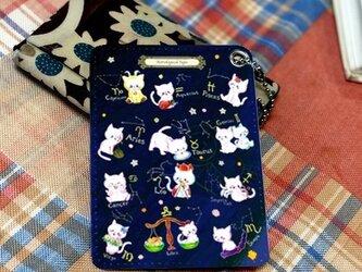 〈受注生産〉ボールチェーン付き合成皮革パスカードケース「12星座キャット」 by なおちるの画像