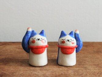 招き猫のはちわれさん (  藍色・大  )の画像