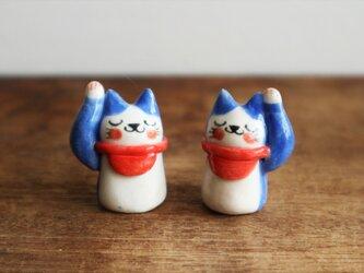 招き猫のはちわれさん (  藍色・小  )の画像