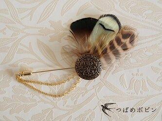 ヴィンテージボタンと羽根のハットピン(J)【送料無料】の画像