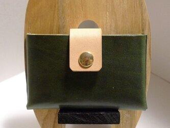「受注制作」オイルレザーのカードケース カーキグリーンの画像