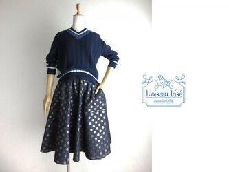 <S>ドットデニムのフレアースカートの画像