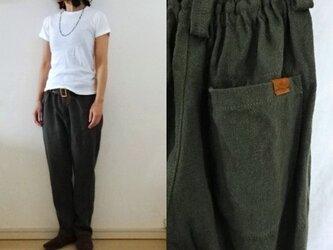 【受注制作】ダークカーキ極厚リネン ゆるりパンツの画像