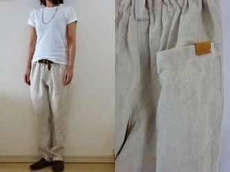 【受注制作】ミルキーホワイト極厚リネン ゆるりパンツの画像
