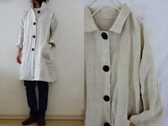 【受注制作】ミルキーホワイト極厚リネン すっきりコートの画像