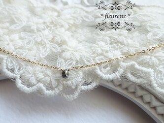 ブラックダイヤモンドひと粒ネックレス*K14GF*雫の画像
