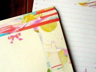 レターセット/リボンと花の画像