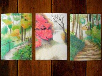 色鉛筆画ポストカード3種/秋の画像