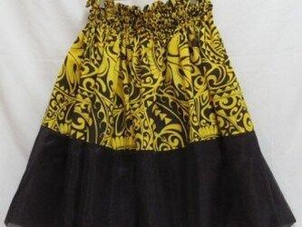 シングルパウスカート オーガンジー×カヒコ・ホヌ柄 スカート丈74cm イエロー[pu-084s74]の画像