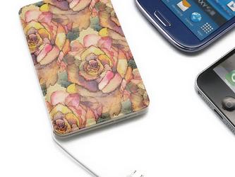 モバイルバッテリー(アンティークローズ)〔ケーブル内蔵・5000mAh〕【ギフト対応】<立体造形デザイン>の画像
