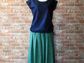 ライトグリーン タックギャザースカート 柔らかハーフリネンの画像
