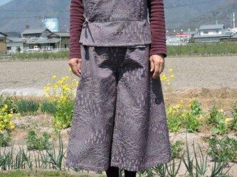 着物リメイク:ベスト&ガウチョパンツセットアップ(パープル・グレー)の画像