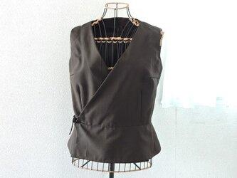 着物リメイク:カシュクールベスト(ブラウンストライプ)の画像
