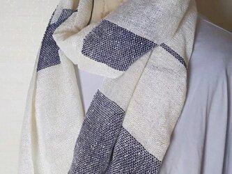 上質シルク100 手織りストール 紺×白 340の画像