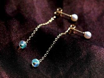 2way★真珠とエチオピア産オパールのピアス ~Allynの画像