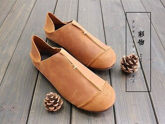 【受注製作】 快適な履き心地 牛革縫製ぺたんこ靴 丸トウ 2way キャメル KT1901の画像