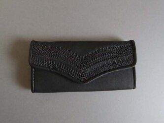 stitch long wallet  (black)の画像