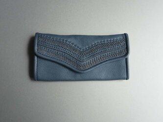 stitch long wallet  (blue)の画像