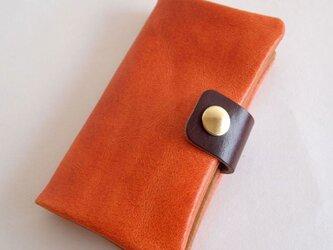 オレンジ*スマホ手帳型【オーダーメイド】多機種対応*ニブリックレザー*7色(iphone7,xperia,galaxy)の画像
