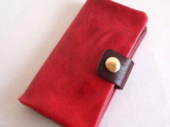 赤*スマホ手帳型【オーダーメイド】多機種対応*ニブリックレザー*7色(iphone7,xperia,galaxy)の画像