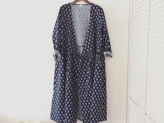cotton robe onpiece*Ladies*navy flowerの画像