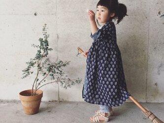 cotton robe onepiece*navy flower*Mの画像