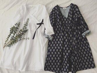 cotton robe onepiece*navy flower*Lの画像