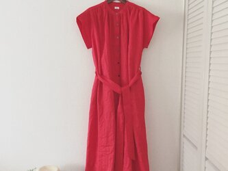 linen gathered onepiece *Ladies*redの画像