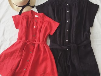 linen gathered onpiece*red*Mの画像