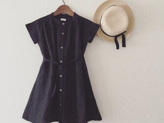 linen gathered onpiece*black*Lの画像