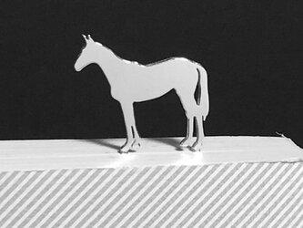 Horse-BookMark-2-d 馬 サラブレッド シルバーブックマーク しおりの画像