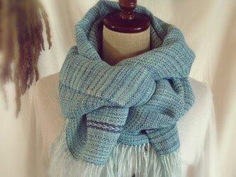 手織り・手染め リトアニアリネンのストールブルーの画像