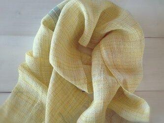 手織り・手染め リトアニアリネンのストールイエローの画像