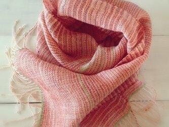 SALE 手織り・手染め リトアニアリネンのストールオレンジの画像