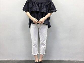en-enフランスリネン・ティアード・ショート丈プルオーバー・濃紺の画像