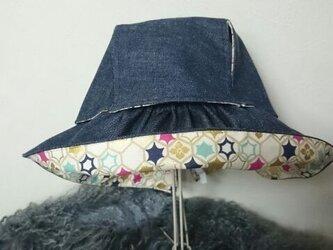 sold out 飛ばない帽子 デニム×六角柄の画像