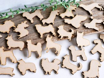 【素材MDF】犬のデコパーツ 小サイズ 27個入りの画像