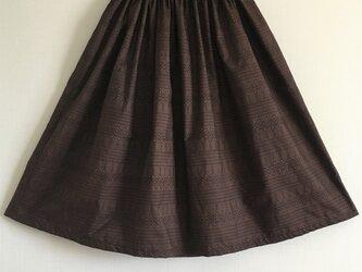 着物リメイク 茶色・幾何学模様 大島紬のギャザースカートの画像