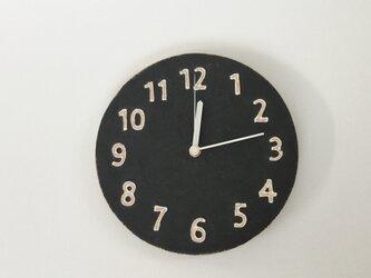 陶シンプル 掛け時計 黒の画像