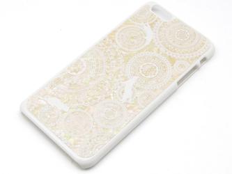 iPhone7plus/6plus/6splusケース 天然貝仕様(ホワイトレースと猫・白カバー)<螺鈿アート>の画像