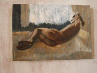 油彩 サムホール 真昼の光の中の裸夫 2の画像