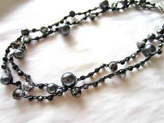ブラックコットンパール ネックレスの画像