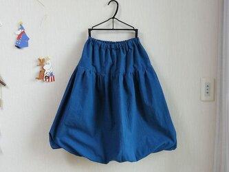 ★春物新作★ナチュラルキャンブリック大人バルーンスカート[ターコイズブルー]の画像